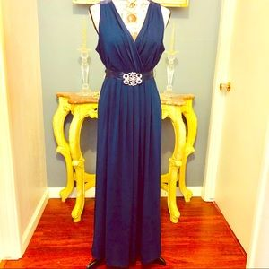 Navy Blue Formal Cocktail Party Gown Bling 💎